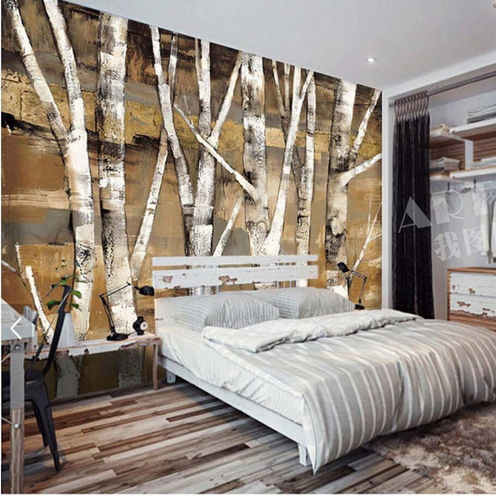US $8.64 52% OFF Silver Birch Tree Photo Wallpaper Murals for Bedroom  Landscape Wallpapers European Retro Abstract Wall Paper 3D Custom Size-in  ...