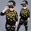 boys clothing set 2017 printed sports suit for boys 8 9 10 11 12 13 years outfits black sweatshirts tops harem pants boys set