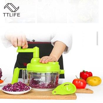 TTLIFE Multi-função de Processador de Alimentos Manual Doméstico Moedor de Carne Mão Picador de Legumes Ovo Liquidificador Triturador De Alimentos de Cozinha Ferramenta