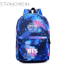 BTS Starry Sky Printing Canvas Backpack For Women School Bags For Teenage Girls Travel Daily Back Pack Mochila Feminina
