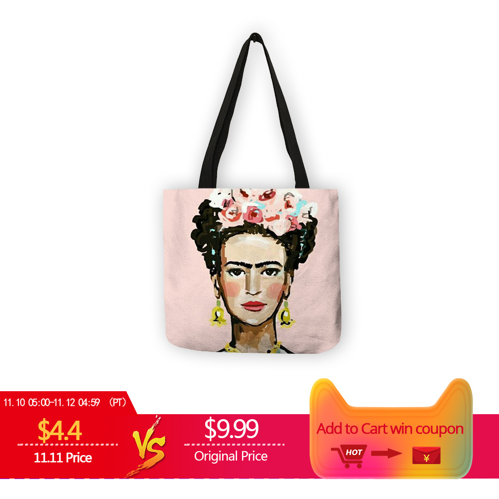 Women Fashion Tote Bag Artist Print Linen Bag Shopping Traveling Bags Totes Casual Chic Handbags Customize unique customize tote bag eco linen bags with audrey hepburn print reusable shopping bags fashion handbag totes for women