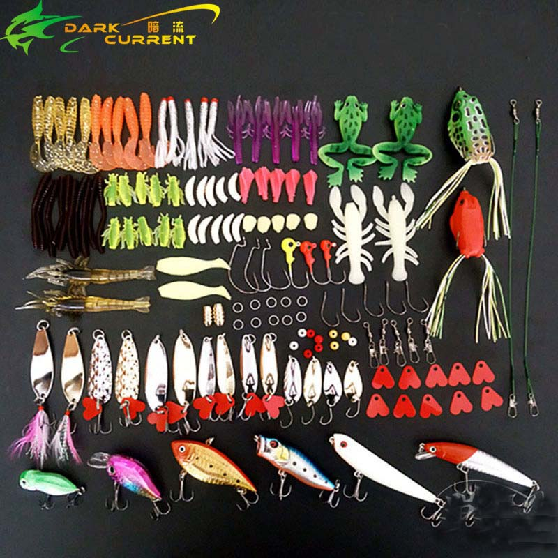 138PCS/lot Multi Fishing Lure Set Spoon Hard Bait Tackle Kit Soft Bait Accesseories Iscas Artificial Fresh Water Metal Lurre 28pc lot fishing lure metal lure set spoon hard bait kit tackle accesseories iscas artificial fresh water bass pike fishing gear