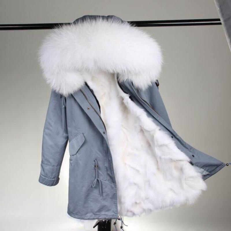 2018 new fashion long winter jacket women hooded coat warm fox fur liner luxurious Large raccoon fur collarparkas top quality