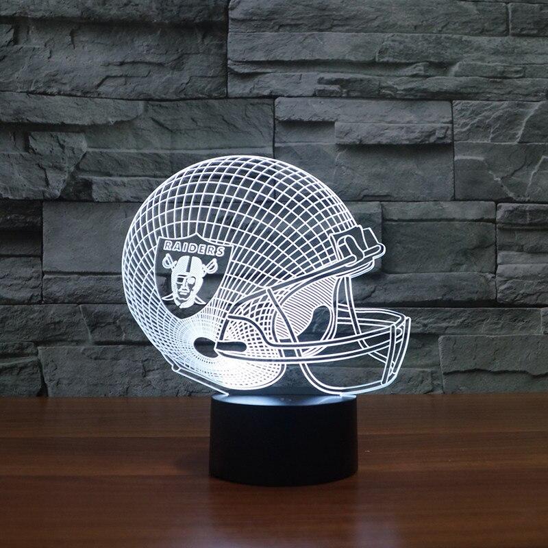 3d led Oakland Raiders football team kopf kappe led licht geschenk möbel
