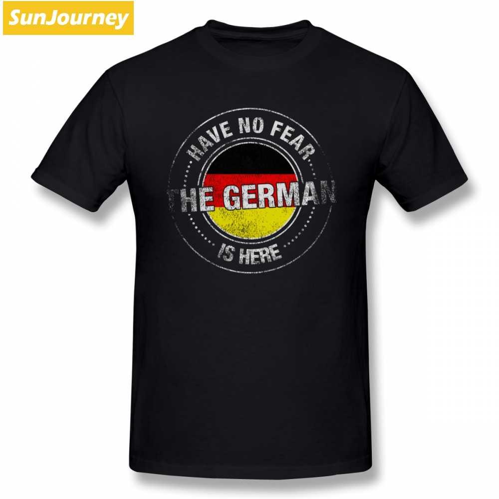 ليس لديهم خوف الألمانية هو هنا T قميص قصير الأكمام العلامة التجارية الملابس شعبية الشارع ارتداء كبير حجم القطن Crewneck الملابس للرجال