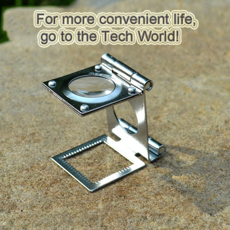Folding Linen Tester Mirror Magnifying Glass Portable 15 Times 20mm Stainless Steel Support Desk Scale Detection Wholesale New