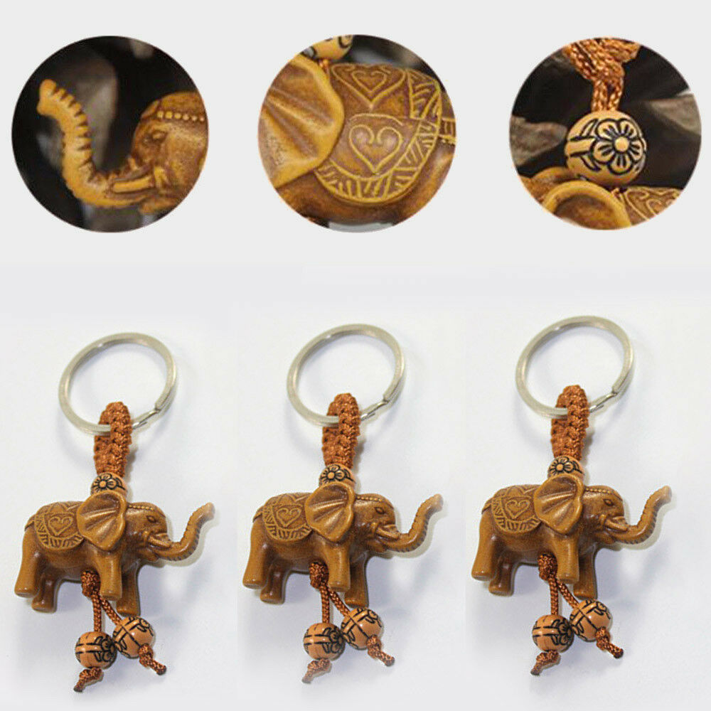 Lucky Elephant Carving Wooden Pendant Keychain Key Ring Chain Evil Defend Gift