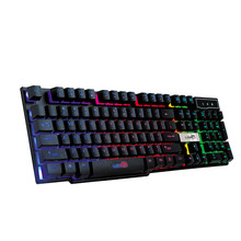 d7a37de906c New Ergonomic Design 104 Keys Colorful Crack LED Illuminated Backlit USB  Wired PC Rainbow Gaming Keyboard