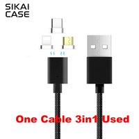 SIKAI New Design 3 IN 1 Magnetic Cable For Iphone7 USB Data Fast Charging Cable for Samsung Huawei Android USB Cable For TYPE-C