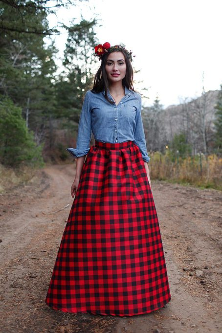 Winter Long Skirts Womens Plaid Wool Floor Length A Line