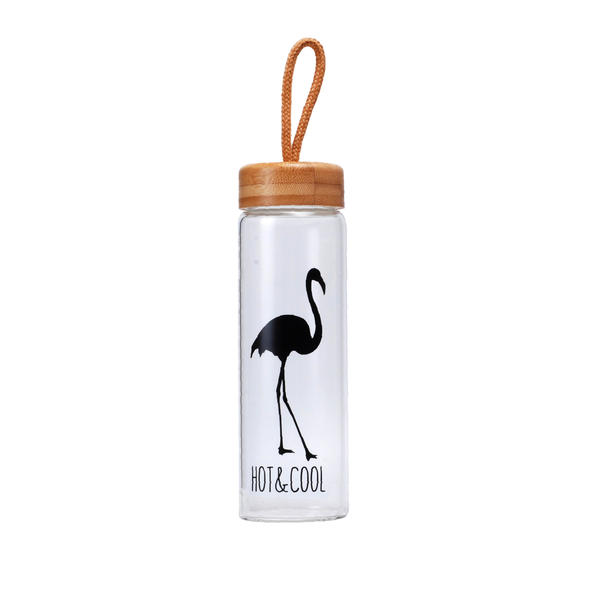 450 Ml Glass Water Bottles With Bamboo Lid Rope Straight Drink Hiking Creative My Bottle Drinkware Clear Brief Portable 5