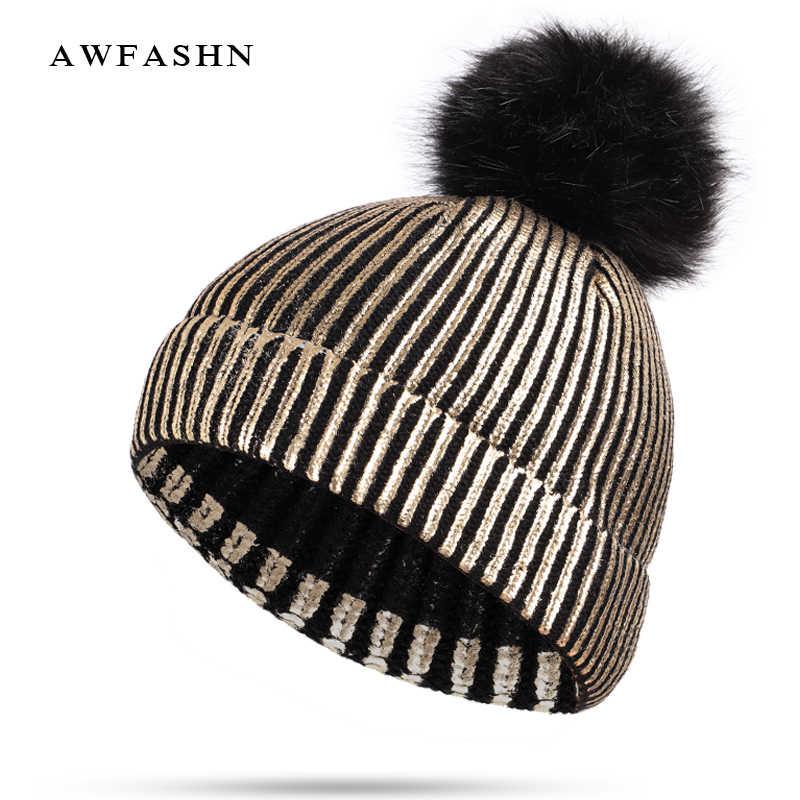 96732d462fc28 New hot gilding knit Beanie hat winter pompom Thicken Hedging Cap man woman  warm Skullies fashion ski cotton bone slouchy female
