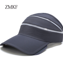 2018 ZMKF pull telescopic hollow top outdoor beach sun hat men and women cap bfc3bcbba202