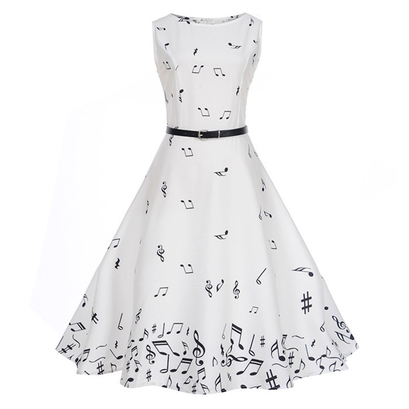 Women Music Note Printed Dress Audrey Hepburn Robe Retro Swing Casual Vintage Sleeveless Summer O-Neck Swing Dresses Vestidos