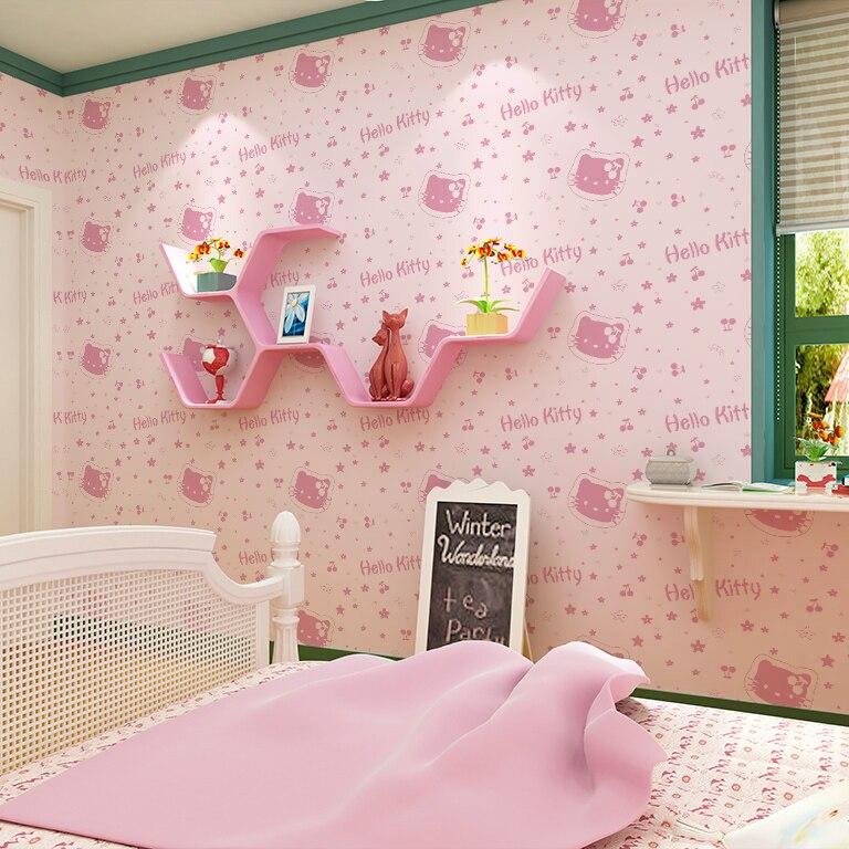 Entertainment 3D cartoon wallpapers of Hello Kitty non woven wall