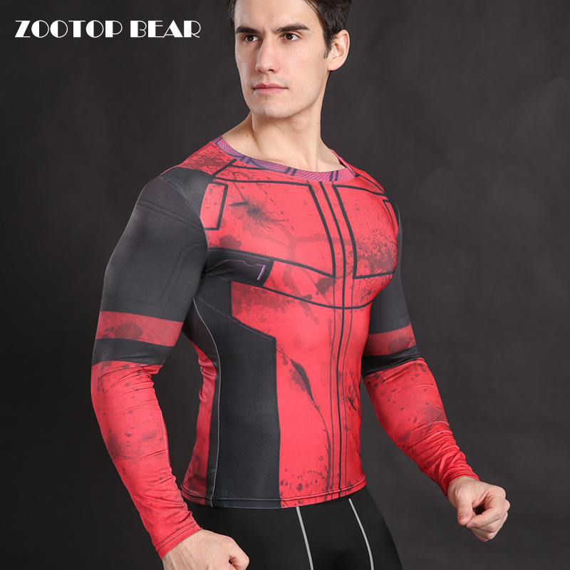Deadpool Costume Cosplay Deadpool T shirt Compression Shirt Tight Fitness Body Building Top Long Sleeve Crossfit Tee ZOOTOP BEAR