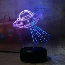 UFO Night Lamp 3D Illusion Hit Color Hoom Decor Bedroom Decorative Lamp Table Child Kids Nightlight Gift USB LED Night Light UFO cute teddy bear led night lamp 3d illusion hoom decoration bedroom light child kid baby nightlight christmas hat lamp teddy bear
