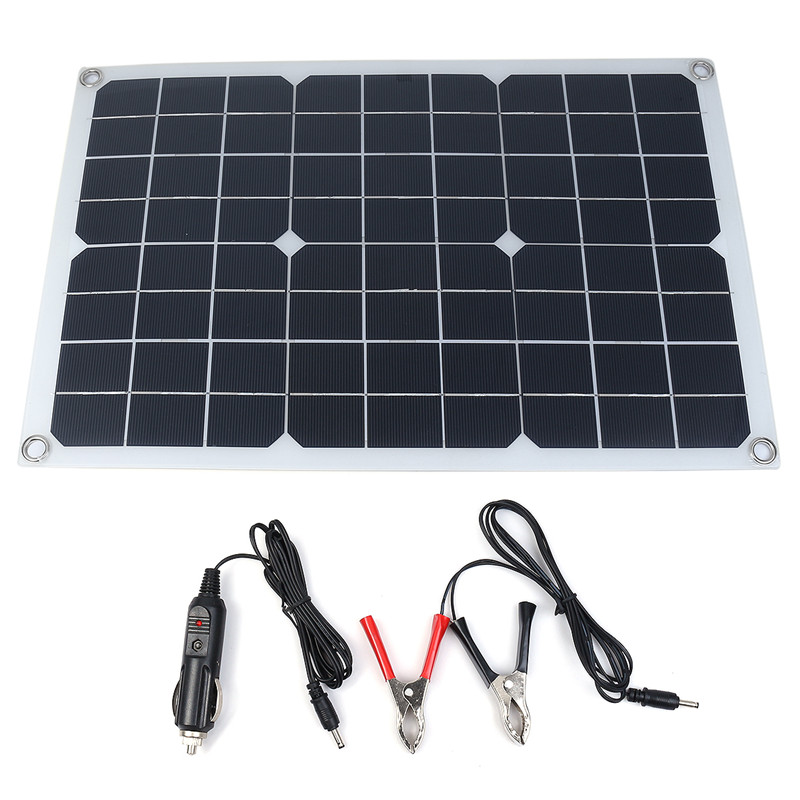 20W 12V/5V Waterproof Solar Panel USB Monocrystalline Solar Panel Car Charger For Outdoor Camping Emergency Light