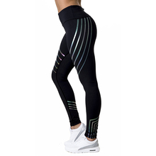 Womens sports high waist yoga pants leggings fitness exercise womens gymnastics streamer print tight