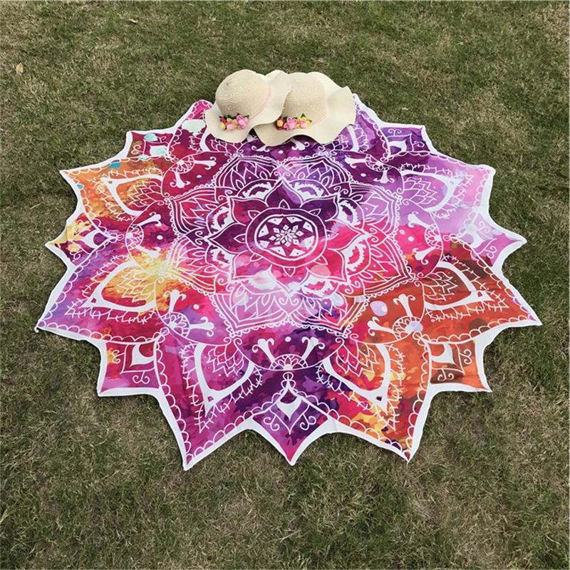 Drop Shipping Yoga Round Mat Indian Mandala Tapestry Lotus Mat Yoga Bohemian Flower