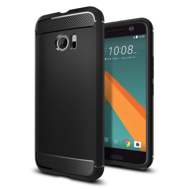 Original PEC Caso Armadura Resistente para HTC 10, Marca Premium Nova Textura De Fibra De Carbono Suave TPU Casos Enquadrados com Pacote de Varejo