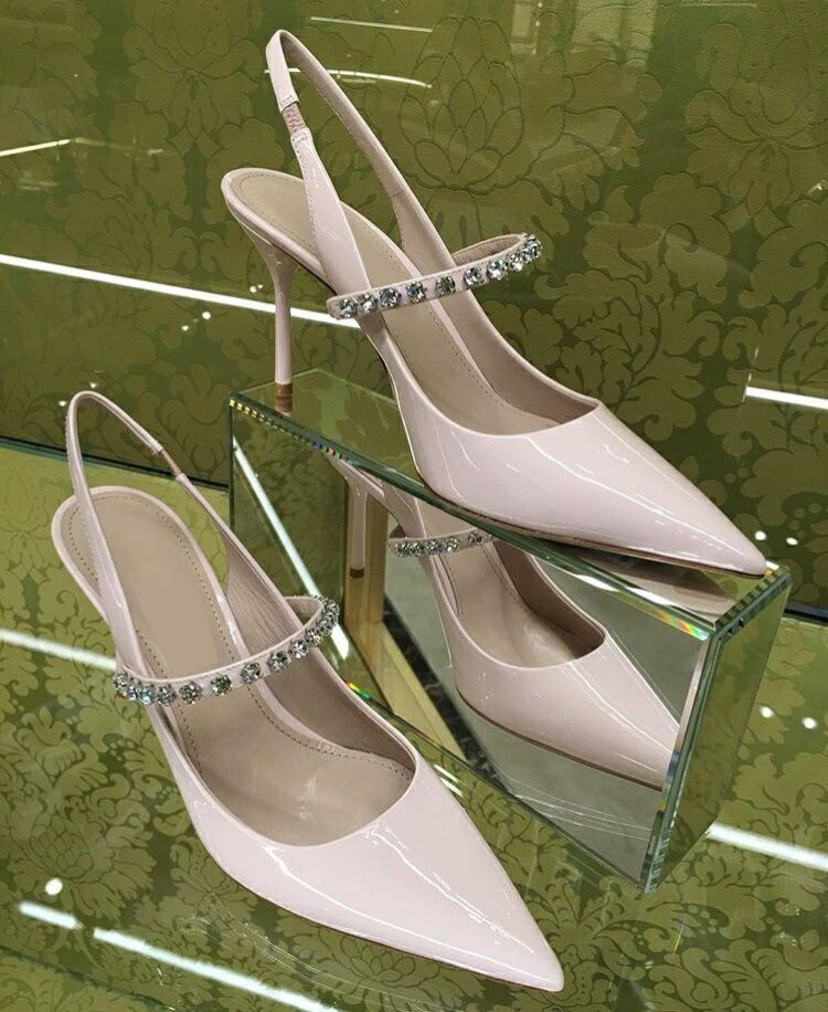 Eunice Choo Patent Leather Pointed Toe Slip On Pumps Ladies Slingback High  Heels Sandals Nude Wedding Bridal Leather Shoes-in Women s Pumps from Shoes  on ... 552aeb5752b6