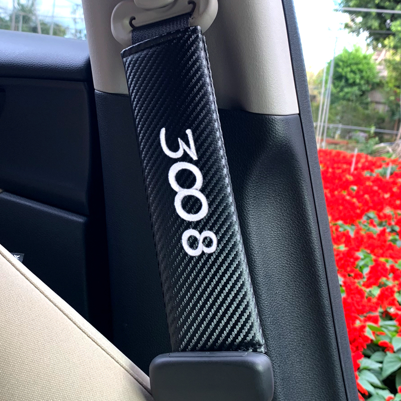 2pcs Car Carbon fiber Seat Belt Pad Seat Cover Fit <font><b>for</b></font> <font><b>Peugeot</b></font> 3008 <font><b>peugeot</b></font> 206 308 207 406 <font><b>407</b></font> Automobiles <font><b>Interior</b></font> <font><b>Accessories</b></font> image