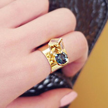 Ladies fashion Crystal ring ring finger Wide paragraph exaggerated jewelry wholesale
