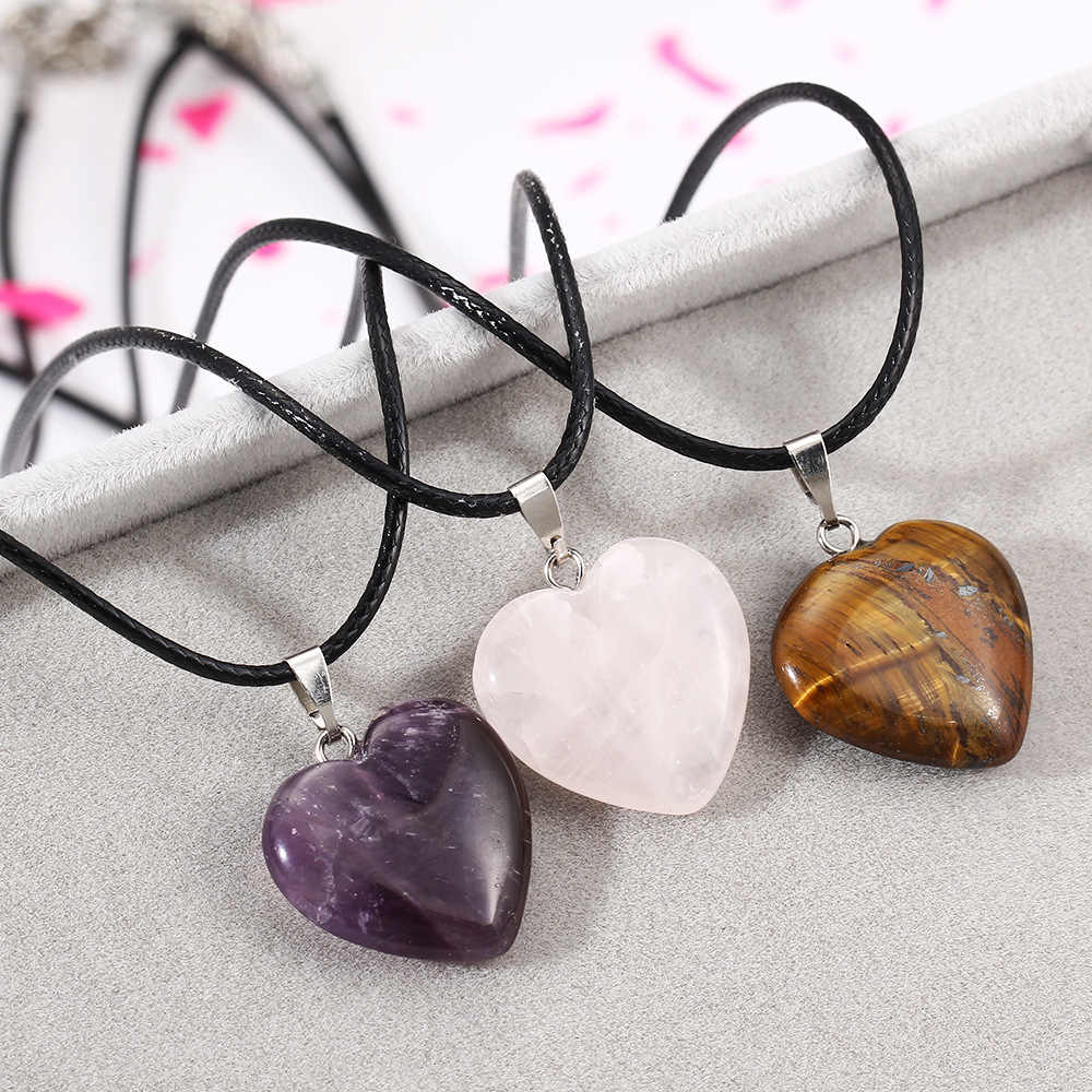 Pink Purple Tiger Eye Natural Stone Heart  Pendants Necklaces Silver Color Charm Black Leather Rope Chain Women Jewelry
