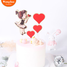1 Set Double Layers Sweet Cute Little Girl Love Cake Topper 16 Party Decorations Happy Birthday