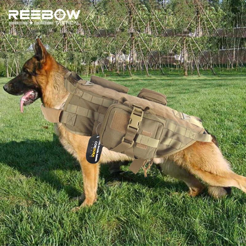 Tactical Military Training Dog Vest with Bag Set MOLLE K9 ...