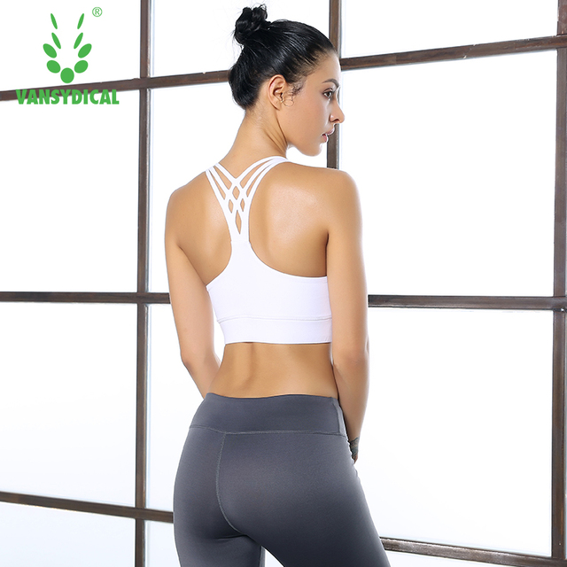 d704658f26 Women Sports Bras Yoga Tops Fitness Vest Cross Back Strips Sleeveless  Removable Cup Exercise Sportswear