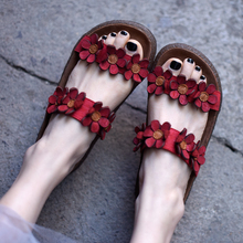 Artmu Original Flat Sole Women Sandals Outdoor Flowers Comfortable Genuine Leather Ladies Slippers Handmade Retro Sweet Shoes