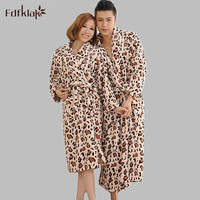 Fashion new couples flannel robes plus size leopard long bathrobes female long sleeve lounge robe women gowns robes A774