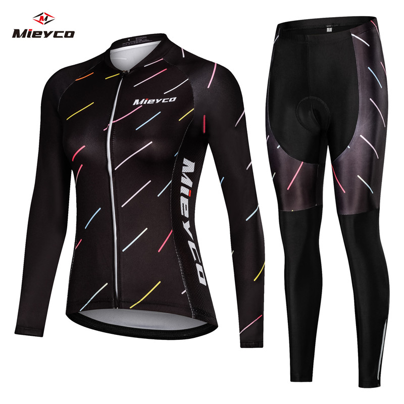 Mieyco Women Cycling Jersey Set Long Road Bike Bicycle Clothing Maillot Ropa Ciclismo Cycle Bib Short Pants 5D Gel Pad Cushion