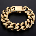 Davieslee CUSTOMIZED 19mm Smooth Cut Curb Link Mens Chain Boys Gold Tone 316L Stainless Steel Bracelet Jewelry DLHB140
