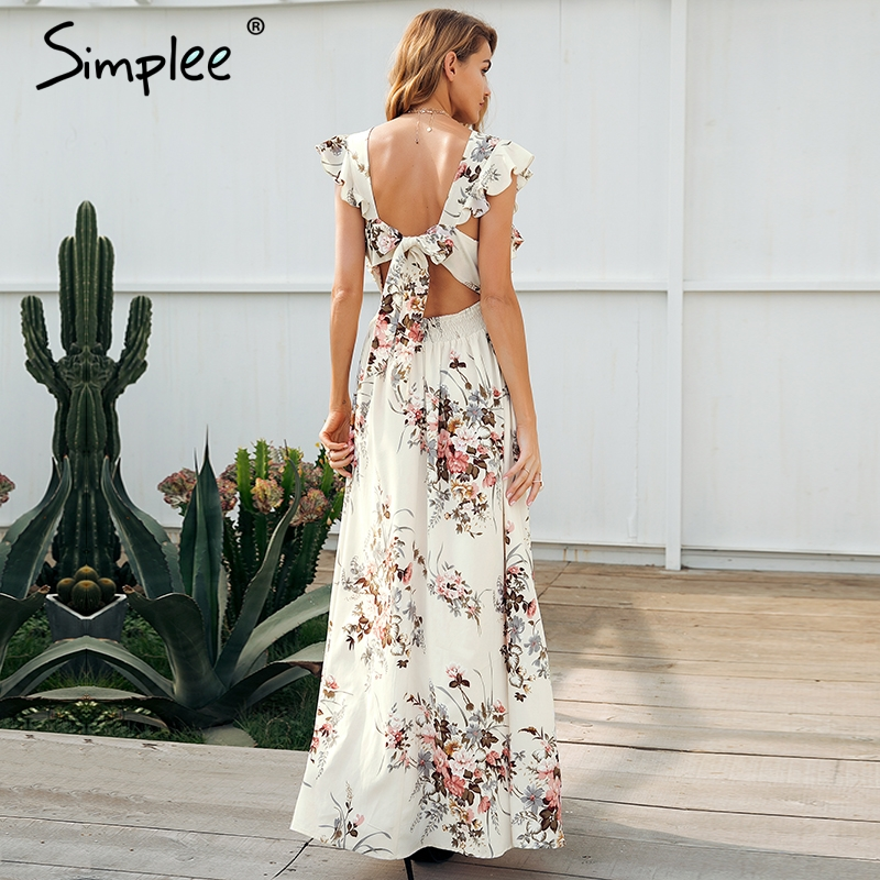 99fa7c13f26c6 US $39.98 |Simplee Ruffle backless bow print long dress Women v neck tie up  summer dress female Casual beach chic boho maxi dress vestidos-in Dresses  ...