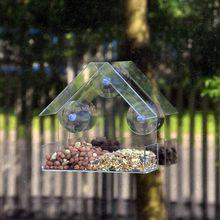 Janela de vidro transparente visualização pássaro alimentador hotel mesa semente amendoim pendurado sucção alimentador de pajaros # jj #1