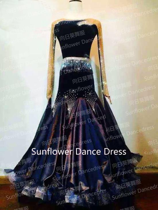 Новый стиль! Бальное стандартное танцевальное платье, Вальс платье для соревнований, женское, бальное платье для танцев, черный цвет