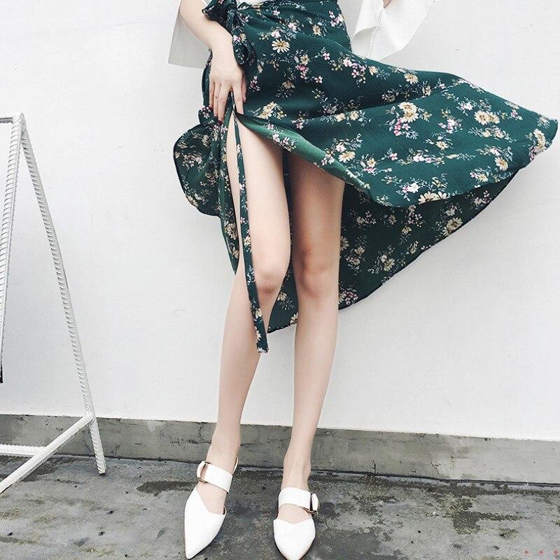 Real Shot Floral Skirt Summer Women Clothing Beach Resort Bohemia Long Style Chifffon Ties Skirt