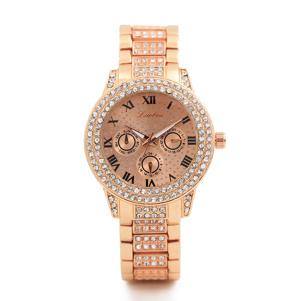 Luxury Women Stainless Steel Watch 2018 Roman Digital Three Eyes Round Stainless Steel Crystal Diamond Dial Quartz Watch a60 цена