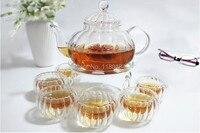 Glass Teapot 600ml 4pcs 80ml Glass Tea Cup 1pcs Heat Base High Temperature Resistance Glassware Coffee