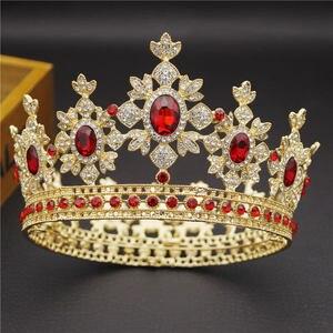 Image 3 - 美容高級バロック様式のヴィンテージライトゴールドラウンド王冠花嫁クラウンブライダルティアラロイヤルキング女王ヘアーピンウエディングジュエリー髪飾り
