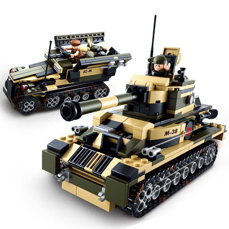 0587 SLUBAN Army Series 8 In 1 Military Tank Truck Model Building Blocks Enlighten DIY Figure Toys For Children Compatible Legoe cheer