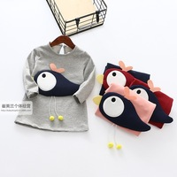 Good Quality 2016 Spring Autumn Long Sleeved 3D Bird Cotton Dress Girls Children Clothes Retail And