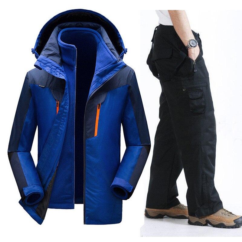 Зимний лыжный костюм мужской ветрозащитный водонепроницаемый сноуборд лыжная куртка и брюки уличная супер теплая 2 в 1 Тепловая флисовая зимняя куртка
