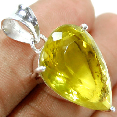 Genuine Lemon Topaz Кулон 100% Стерлингового Серебра 925 Ювелирные Изделия 37 ММ AP0758
