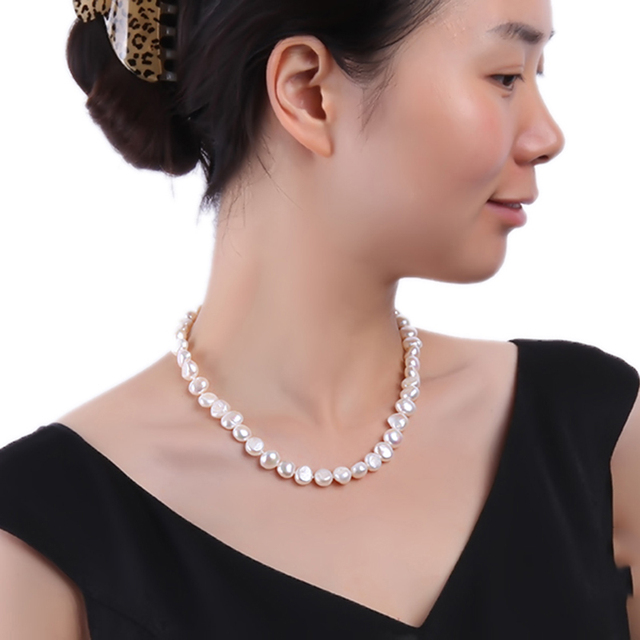 JYX lusterous White South Sea Baroque Pearl Necklace 18 Inches
