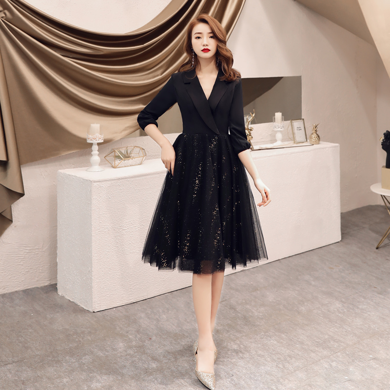 ╒Ultimate SaleDress Evening-Gowns Vestidos Mother-Of-The-Bride Knee-Length Women Short Black Tulle
