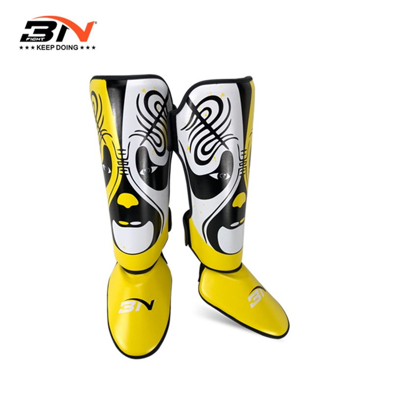 BNPRO Top Quality Boxing shin guards LEATHER MMA instep protectors foot kickboxing pad Muaythai Training Leg support protectors